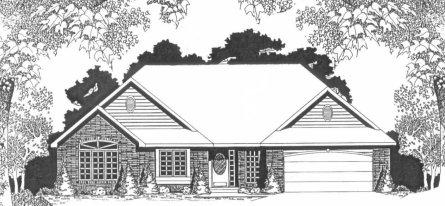 Plan # 2082 - Ranch | Large render view