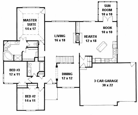 Plan # 2103 - Ranch | First floor plan