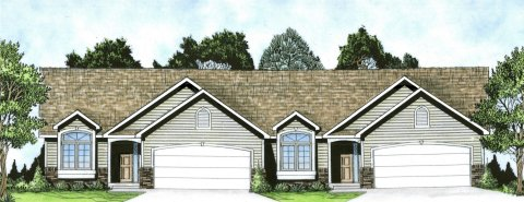 Plan # 2190 - Duplex Ranch | Large render view