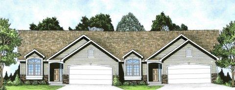 Plan # 2190 - Duplex Ranch | Large render view