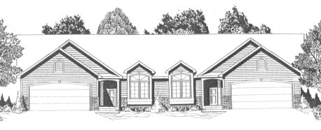 Plan # 2190A - Duplex Ranch | Large render view
