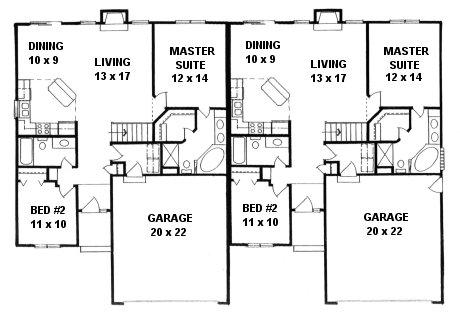 Plan # 2190 - Duplex Ranch | First floor plan