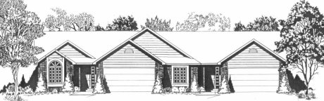 Plan # 2208 - Duplex Ranch | Large render view