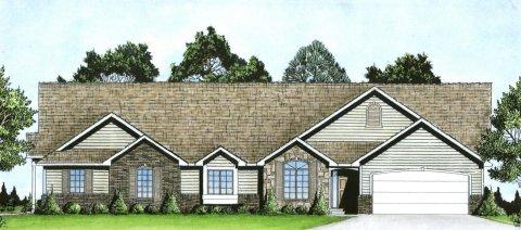 Plan # 2211 - Duplex Ranch | Large render view