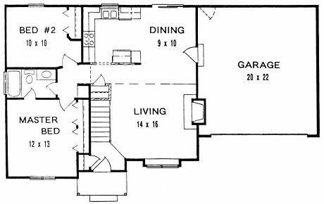 Plan # 884 - Ranch | First floor plan