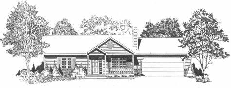 Plan # 908 - Ranch | Large render view