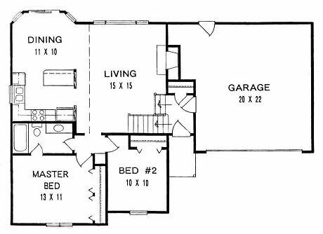 Plan # 925 - Bi-level | First floor plan