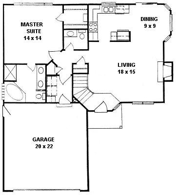 Plan # 940 - Ranch | First floor plan